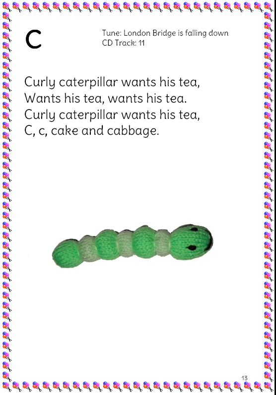 curly caterpillar phonics song page